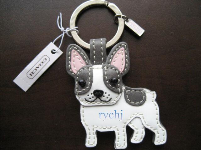 Nwt Coach Leather French Bulldog Key Fob Keyring Keychain 61909