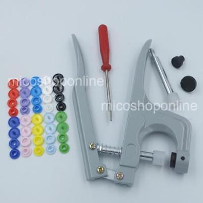 350 set KAM Button Snap Rapid Pliers Clips Plastic Press Stud Cap T5 Baby Cloth