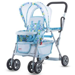 Joovy Caboose Dolls Stroller Toy Baby Blue Tandem For ...