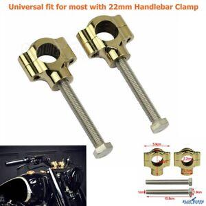 Universal-Motorcycle-7-8-034-22mm-Brass-Handlebar-Bar-Riser-Mount-Clamp-For-Chopper