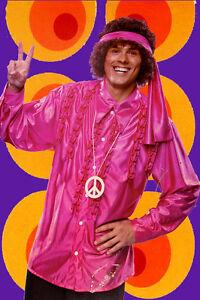 127 ✪ Messieurs Hippie Costume Satin Rüschenhemd Bandeau Peacekette 70er Ans-afficher Le Titre D'origine
