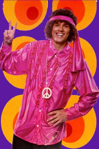 127 ✪ Messieurs Hippie Costume Satin rüschenhemd Bandeau peacekette 70er Ans
