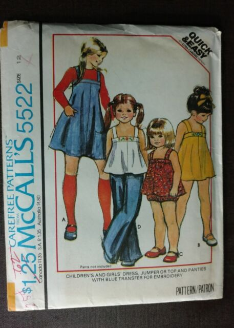 Vintage 1977 Mccall\'s # 5522 Sewing Pattern Children\'s Dress Jumper ...