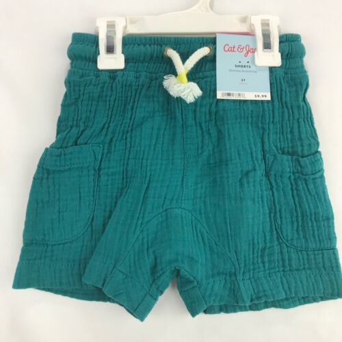Cat /& Jack Toddler Size 3T Knit Shorts Teal Blue Gauze Elastic Waist Drawstring