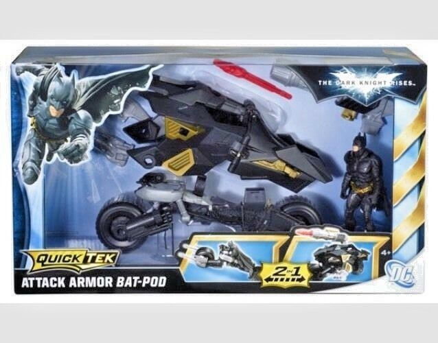 The Dark Knight Rises Bat Batpod Quiktech 2 in1 Original DC Comics Toy Brand New