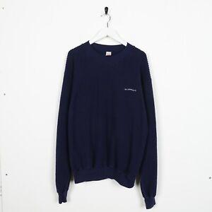 Vintage-90s-LEVIS-Small-Logo-Ribbed-Sweatshirt-Jumper-Navy-Blue-Large-L