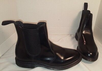 NEW DR MARTENS WOMEN'S SMOOTH BLACK FLORA CHELSEA BOOTS AIR WAIR US 10 UK 8