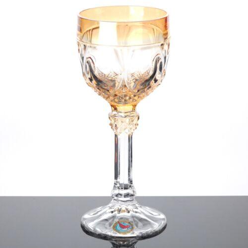 1 Weinglas Römer Hofbauer Glas gelb 19 cm Bleikristall Vintage Trinkglas