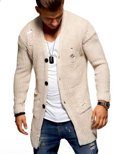 T Shirts Kleidung & Accessoires Strick Cardigan Destroyed