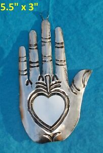 La Mano y Cruz Mexican Tin Ornament Mirror Heart in Hand Milagro 2//$21