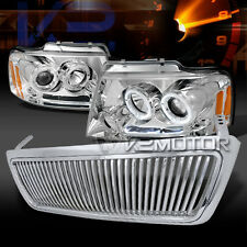 04-08 Ford F150 Chrome Halo LED Projector Headlights+Vertical Hood Grille
