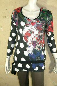 DESIGUAL-Taille-L-40-42-Tunique-manches-longues-tee-shirt-blouse-noir-rose