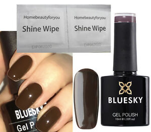 BLUESKY-DEEP-DARK-CHOCOLATE-BROWN-A40-NAIL-GEL-POLISH-LED-UV-SOAK-OFF-FREE-WIPES