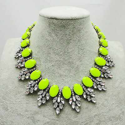New Design Lady Women Bib Statement Gorgeous multi Crystal necklace Collar Hot