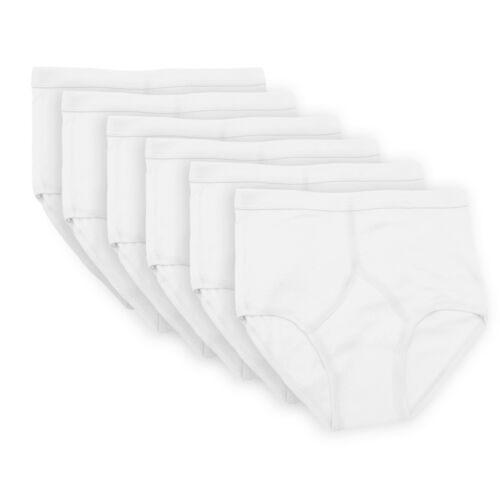 6 HOMBRE 100/% algodón y Frontales Calzoncillos Blanco Con Azul M L XL 2xl 3xl