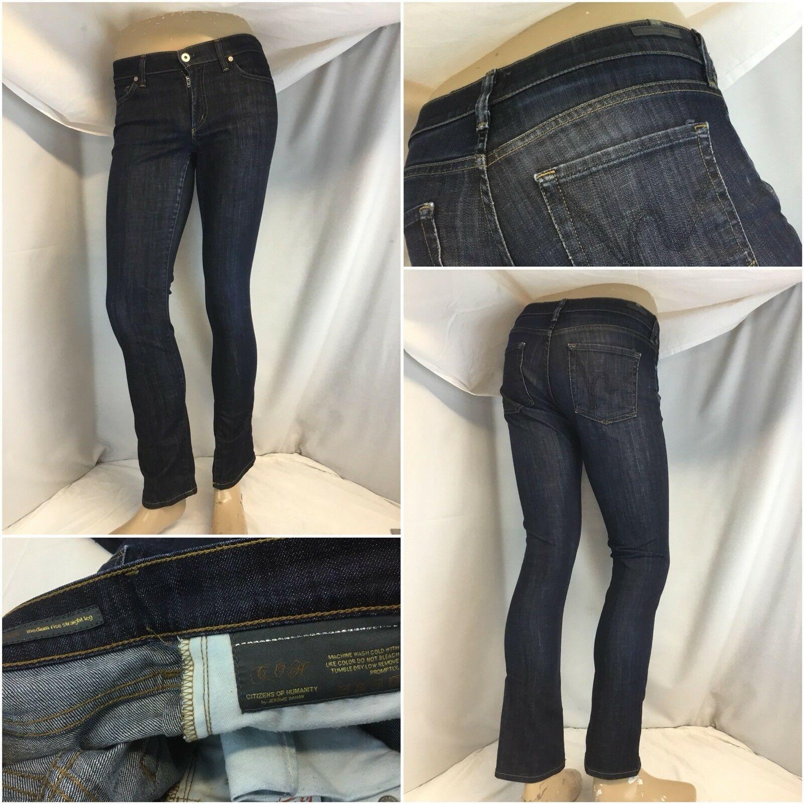 "Citizens Of Humanity Jeans Sz 28 Dark ""Etson"" Straight Med Rise Mint YGI G8-104"