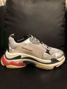 Details about Balenciaga Triple S Sneaker Silver Grey Red Speed Flat Trainers 45 Men US 12