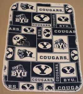 Hand Made Fleece Blanket with a Crocheted Border BYU Cougers 30x39