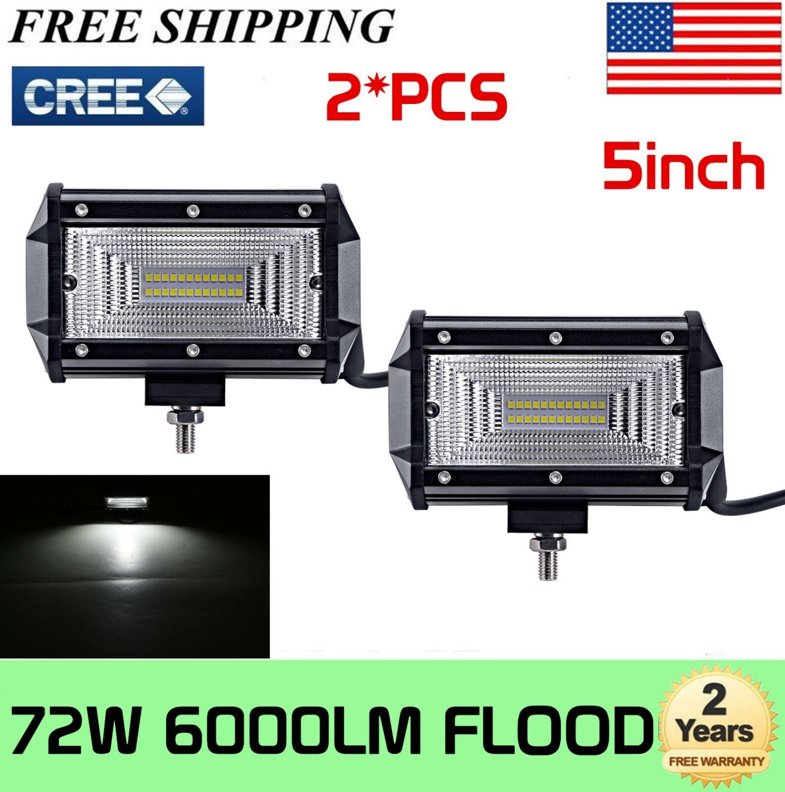Triple Rows Upgrade Off Road Lights Light Bar WOWLED Light Bar 2 x 5 Inch 72W Yellow Amber Flood LED Light Bars IP67 Offroad Driving Lamp Bar for Car Truck UTE 4x4 12V 24V