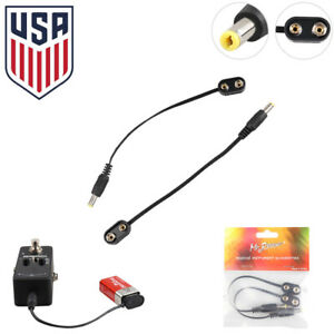2x 9V Guitar Pedal Power Supply Battery Adapter Converter Clip Cable