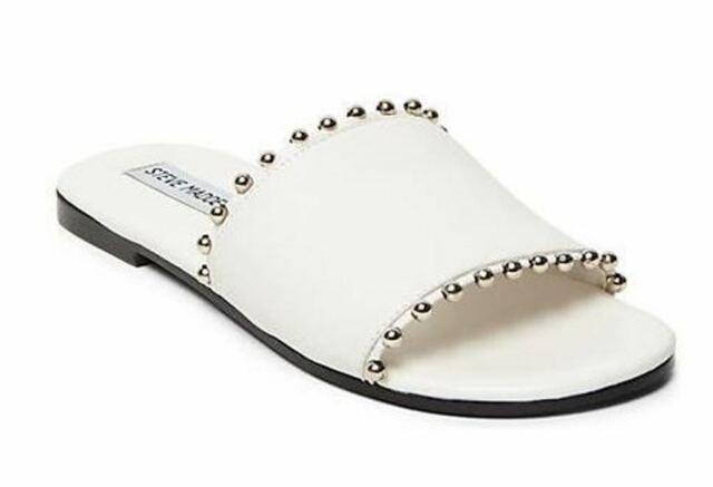 steve madden white slide sandals