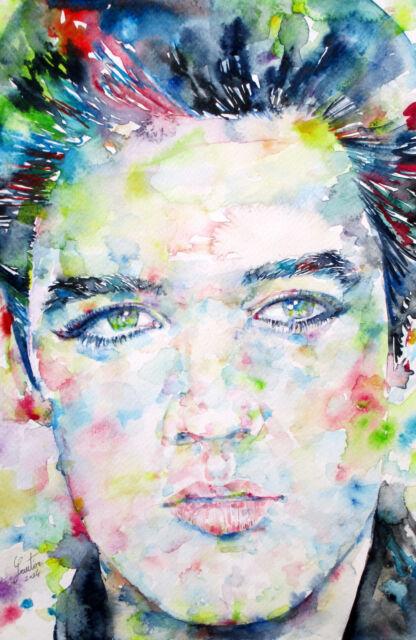 ELVIS PRESLEY portrait-ORIGINAL watercolor PAINTING!ONE of a KIND! graceland art