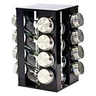 SQ Professional Gems Revolving Metallic Spice Kitchen Rack With 16 Jars Onyx