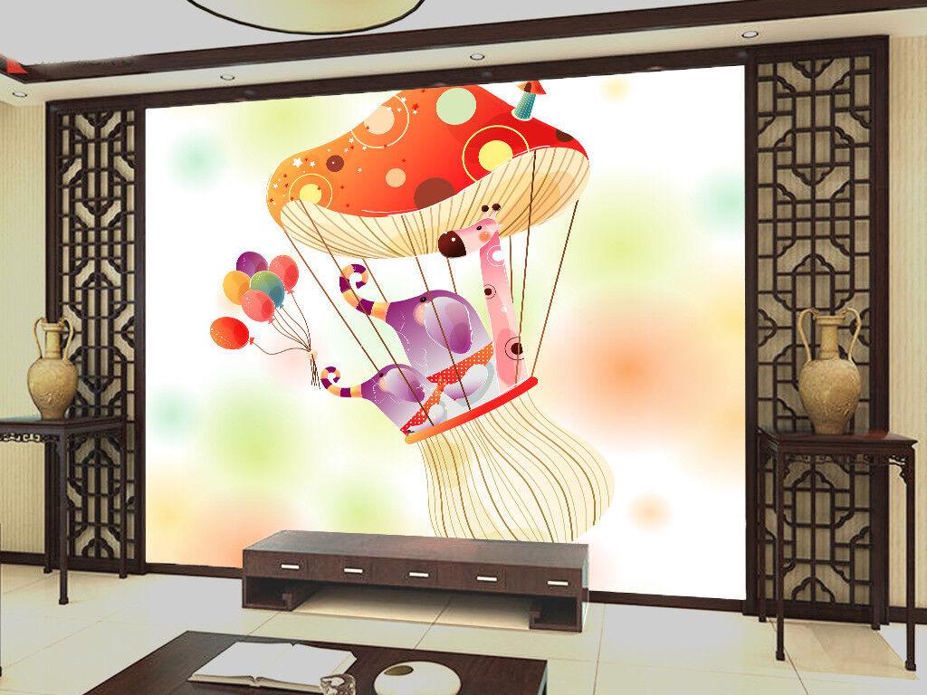 Papel Pintado Mural De Vellón Elefantes Globo De Setas 2 Paisaje Fondo Pantalla