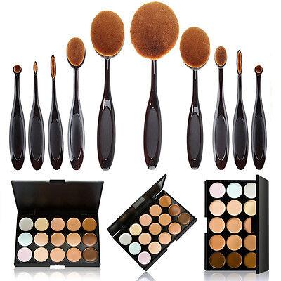 10Pcs Oval Toothbrush Makeup Foundation Powder Lip Brushes 15 Color Concealer US