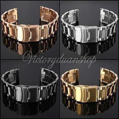 18 20 22mm Bande de Montre Bracelet Strap Rechange Déployante Double Boucle Inox