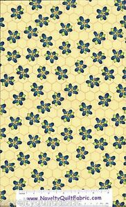 Beez-Yellow-HoneyComb-Floral-Cotton-Quilting-Novelty-Quilt-Fabric-BTY