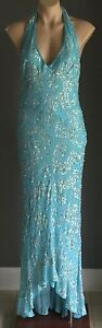 ABlue-ANGELINE-Sequin-amp-Beaded-Halter-Neck-Mermaid-Gown-Size-12-New-with-Tags