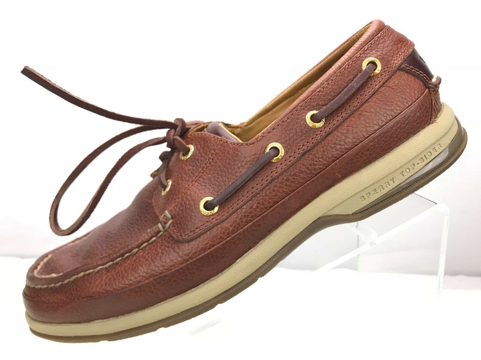 Sperry Top Sider gold Cup Boat shoes - Brown Leather Rubber Sole Men's Sz 8M