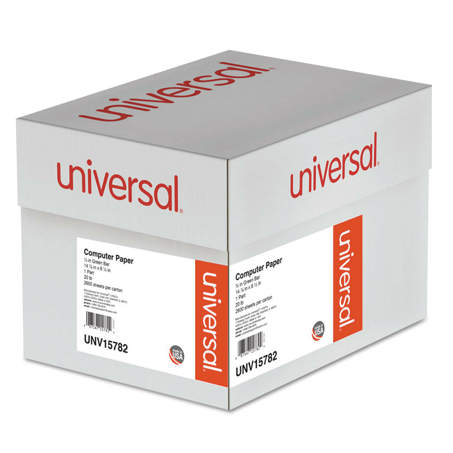 UNIVERSAL Green Bar Computer Paper 20lb 14-7 8 x 8-1 2 Perforated Margins 2600