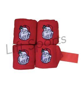 Weihnachten-Weihnachtsmann-Pferd-Polo-Wraps-Leg-WRAPS-Fleece-Bandage-Set-4-stabil