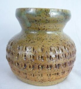 Bourscheidt-Studio-Pottery-Stoneware-Small-Textured-Vase-Dated-2000