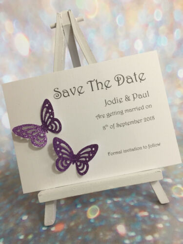 25 Personalised Glitter Butterfly Wedding Save The Date Cards  ** 27 Colours**