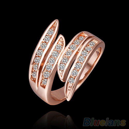 Fashion Women 9K Rose Gold Plated Rhinestone Casual Wedding Party Jewelry Ring