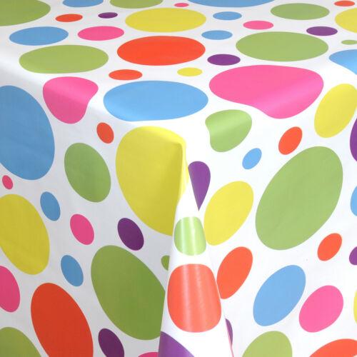 Toile Cirée Nappe Au Mètre Points Multicolores 06021-00 rectangulaire environ ovale