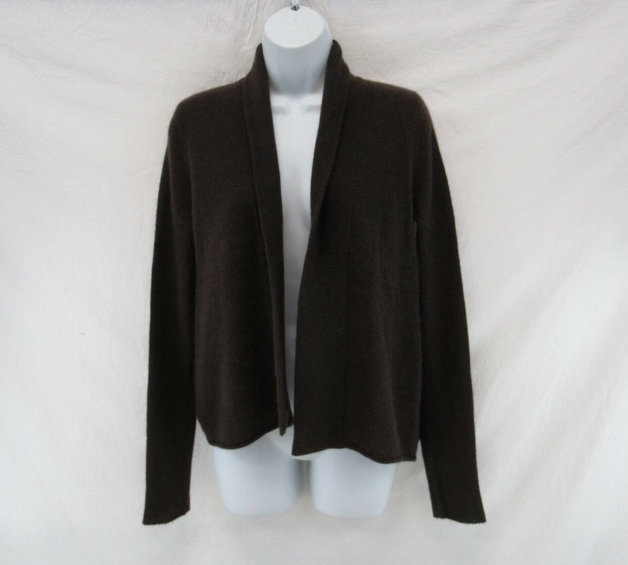 White+Warren 100% Cashmere Brown Open Front Cardigan Sweater Size S  C477