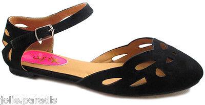 Chicas BAILARINA Niños Sandalias Informales Zapatos Planos Verano Negro Gamuza Tribunal Escuela