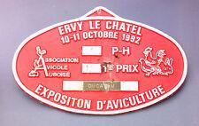 PLAQUE EN ALU - AVICULTURE ASS. AVICOLE AUBOISE OCT 1992 ERVY LE CHATEL