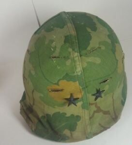 US-Army-Vietnam-War-era-Helmet-plastic-liner-and-Leaf-Camouflage-Cover-2-stars