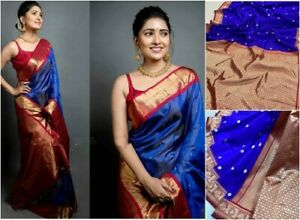 Blue-Soft-Silk-Blend-Saree-Jacquard-Weaving-Sari-Indian-Traditional-Women-039-s-wear