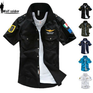 Mens-Short-Sleeve-Casual-Shirts-Army-Military-MA-1-Shirt-Air-Force-Summer-Shirts