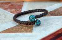 Twisted Leather Bangle With Studed Crystal (pave)