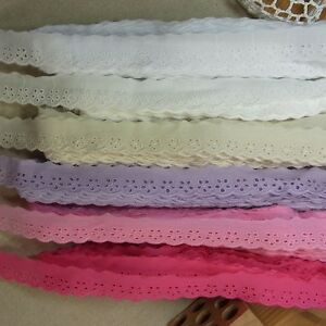 14Yds-6-Colors-Scalloped-Embroidery-Eyelet-Lace-Trim-Mini-Flowers-2-2cm-0-9-034-WD