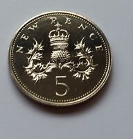 1974 U.K. 5p Royal Mint Proof Five Pence Coin Rare