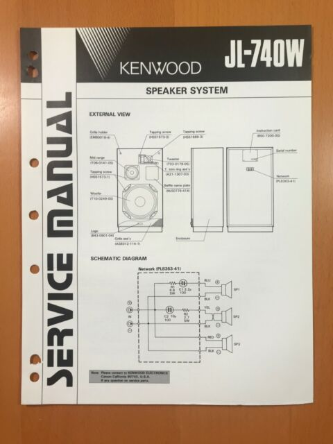 original service manual  schematic kenwood jl740w speaker system d462