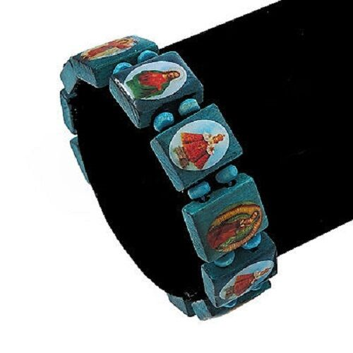 "Claire/'s All Saints Wood Tile Stretch Bracelet Blue  1//2/"" W New"